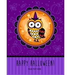 Halloween card with owl vector image