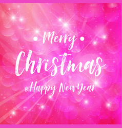 merry christmas - pink background sparkle vector image vector image
