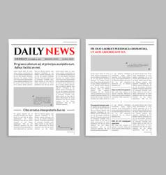 newspaper template design vector image vector image