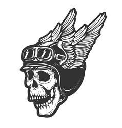 racer skull in winged helmet isolated on white vector image
