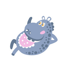 cute cartoon hippo character lying vector image vector image