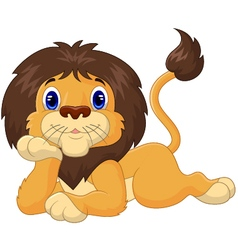 Cute cartoon lion relaxing vector image vector image