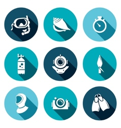 Diving flat icons set vector image vector image