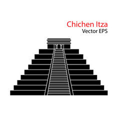 flat icon of chichen itza mexico isolated vector image