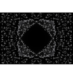 Frame with silver floral ornament vector image vector image