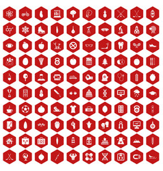 100 well person icons hexagon red vector