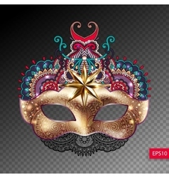 3d gold venetian carnival mask silhouette with vector image
