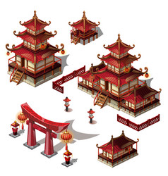 A set of architectural elements in oriental style vector