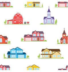 American houses churches and farm seamless vector