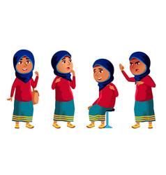 Arab muslim girl kid poses set high vector