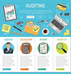 Auditing and business accounting infographics vector
