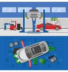 Auto Service Compositions vector image
