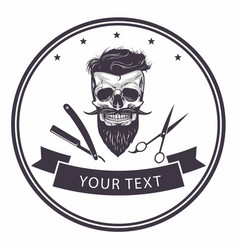 Barbershop logo template bearded skull vector