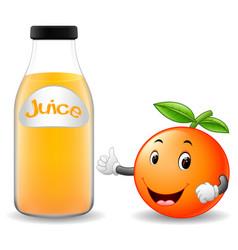 Bottle of orange juice with cute orange cartoon vector