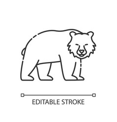 Brown bear pixel perfect linear icon vector