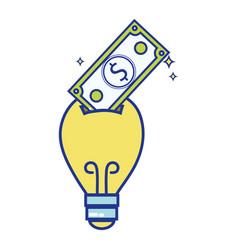 bulb save bill cash money inside vector image