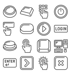 button and key icons set on white background line vector image