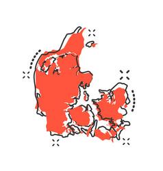 Cartoon denmark map icon in comic style denmark vector