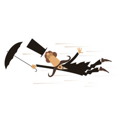 cartoon man and windy day isolated vector image