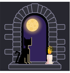 castle window with black cat and candle night vector image