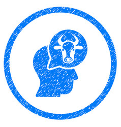 Cattle thinking person rounded grainy icon vector