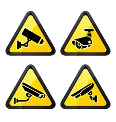 CCTV triangular labels set symbol security camera vector image