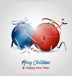christmas and new year wishes baubles stars bow vector image