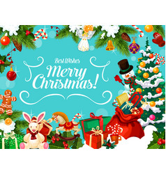 christmas card with winter holiday greeting wishes vector image