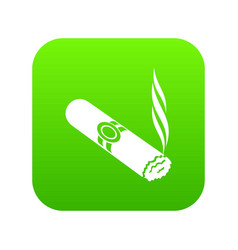 Cigar icon green vector