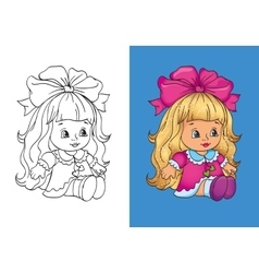Coloring Book Of Cute Dall In Pink Dress vector