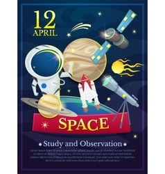 Cosmonautics Day poster vector image