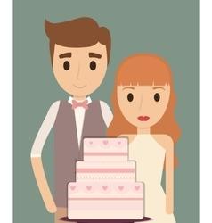 Couple cartoon wedding marriage icon vector