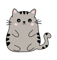 Cute fat black and beige cat anime kawaii style vector