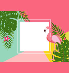 Cute summer abstract frame background with pink vector