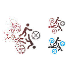 dispersed pixel halftone running persons for gears vector image