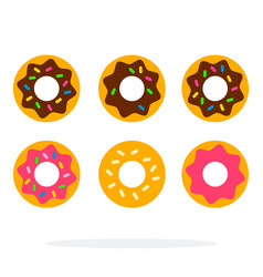 donuts with chocolate and cream flat material vector image