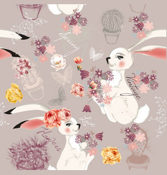 fashion seamless background rabbits and flowers vector image