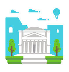 Flat design pantheon rome vector