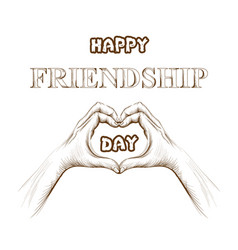 Friendship day card hands forming a heart vector