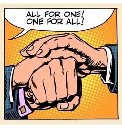 Friendship solidarity man hand vector image