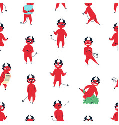 funny red devil flat seamless pattern vector image