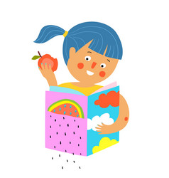 Girl with apple read and study book icon design vector