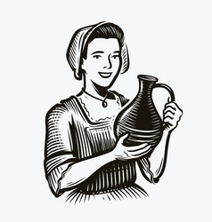 Girl with jug wine alcoholic drink sketch vector