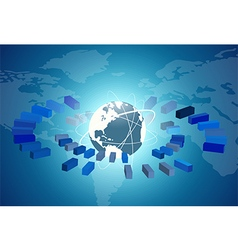 Globe network connection with blue background vector image