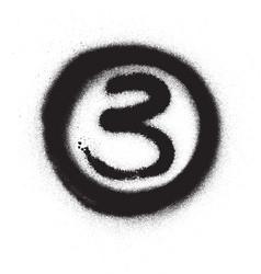 graffiti number three 3 in circle sprayed vector image
