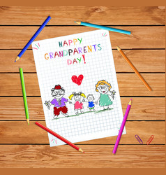 Grandparents day children colorful hand drawn of vector