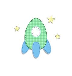 Green cute baby clip art rocket for scrapbooking vector