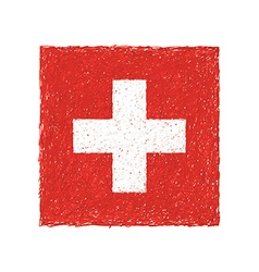 Hand drawn of flag of Switzerland vector