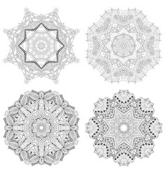hand drawn zentangle set of 4 mandalas for vector image