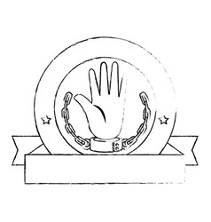 Hand with handcuffs icon vector